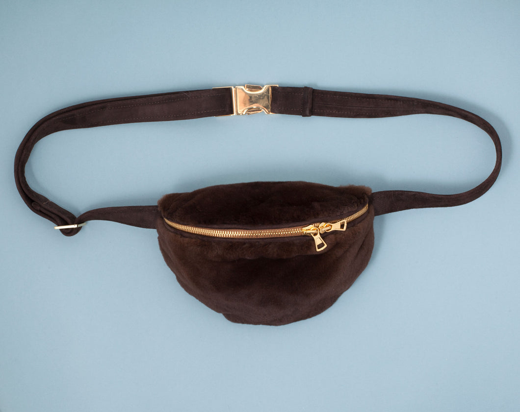 DARK BROWN PLUGGED MINK BUMBAG