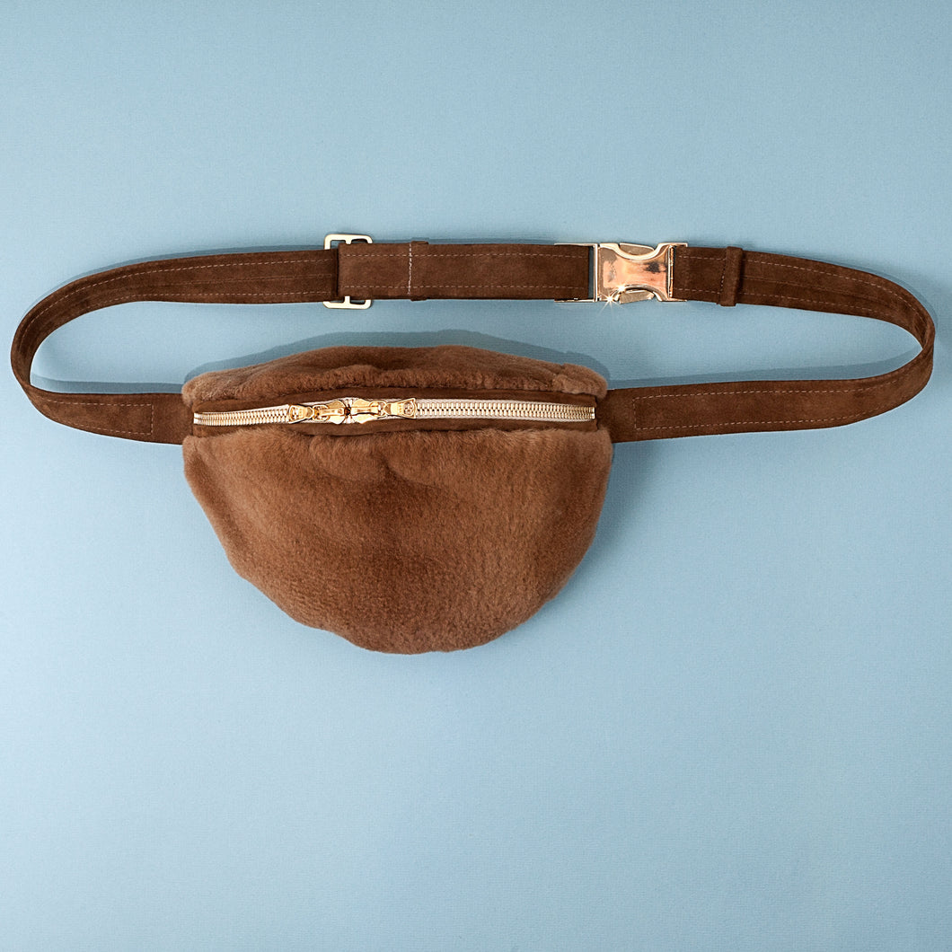 BROWN MINK BUMBAG