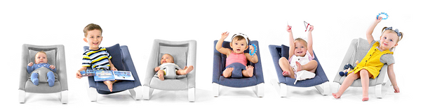 Six children of different age sitting on their own Bamboo 3DKnit Bouncer