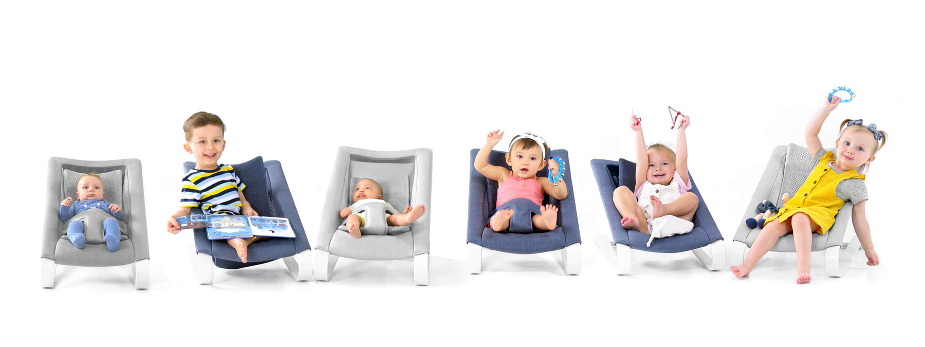 4 kids and 2 newborn baby smiling on their baby bouncer chair