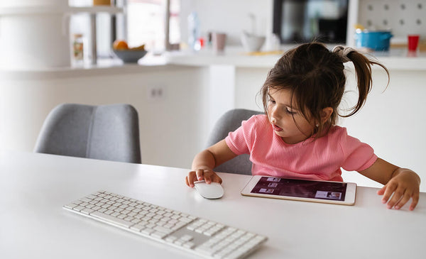Little Girls with keyboard and mouse
