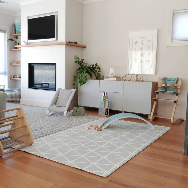 Grey Bouncer fits beautifully in an elegant living room