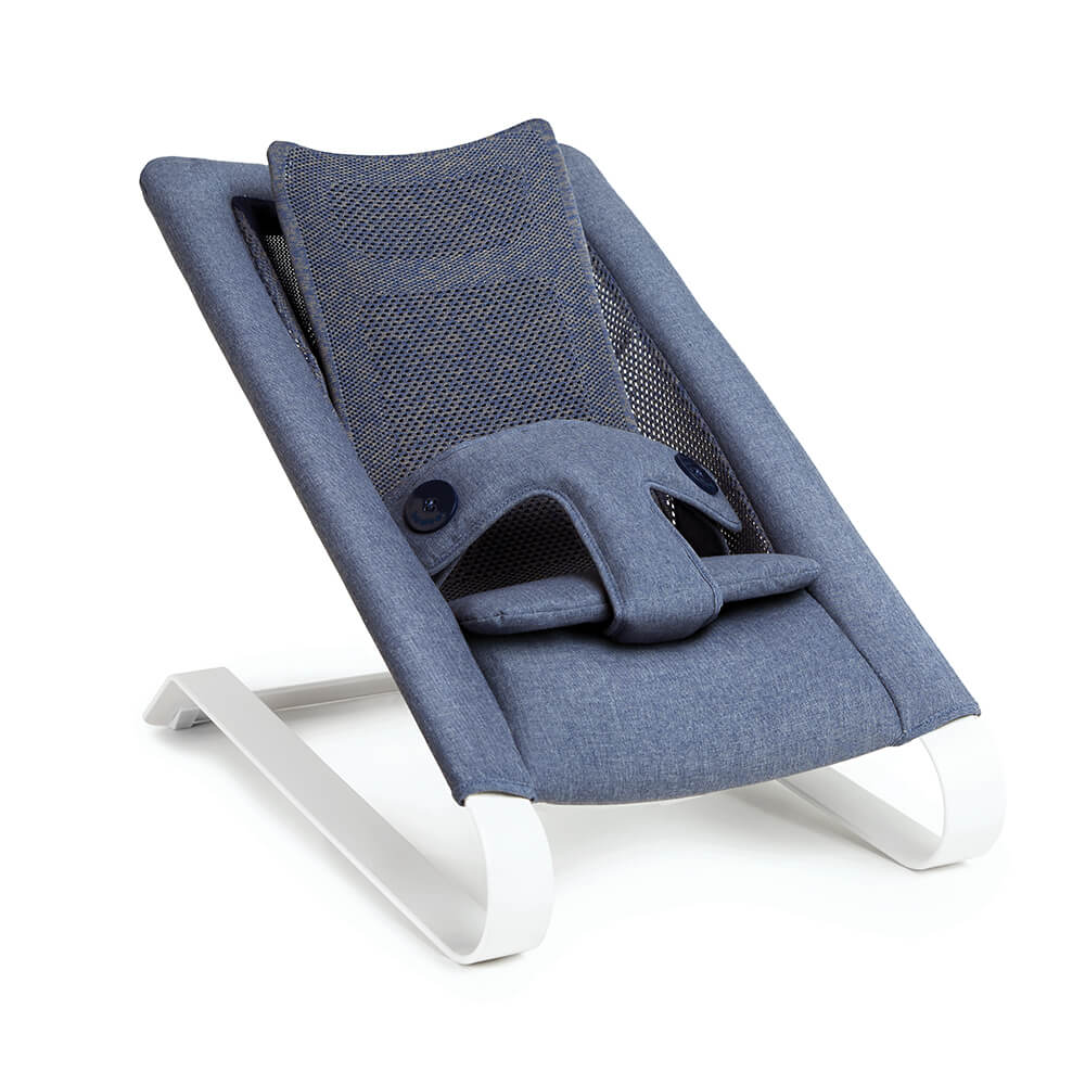 Bombol Bamboo 3Dknit baby bouncer Denim Blue sit