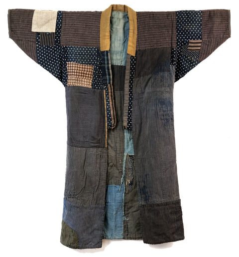 Boro Noragi - Shima cottons, yellow cotton repairs