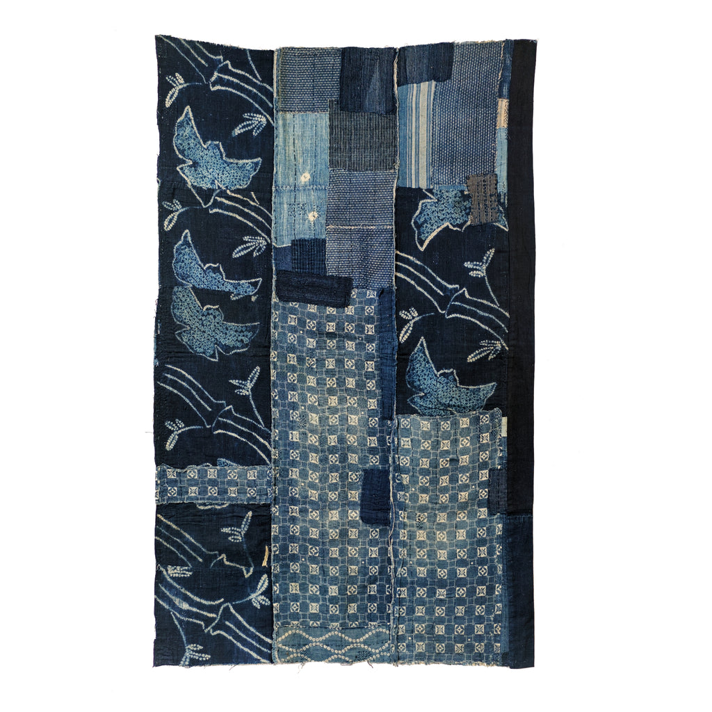 Boro Futon Shibori Sparrow and Bamboo