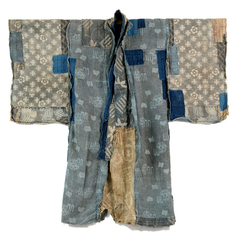 Boro Child's Kimono Katazome Florals, Genji-mon and Plovers