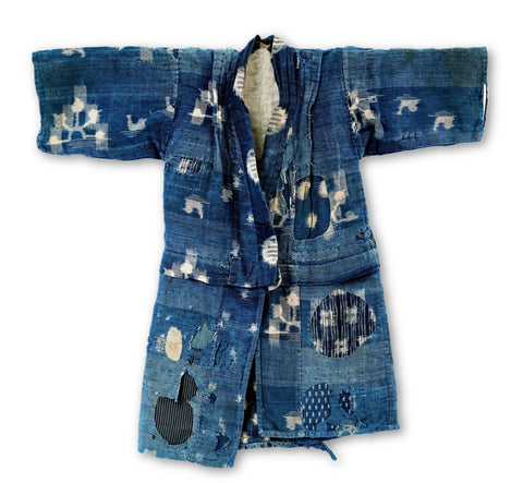 Boro Child's Kimono Kasuri Mallards and Waterwheels