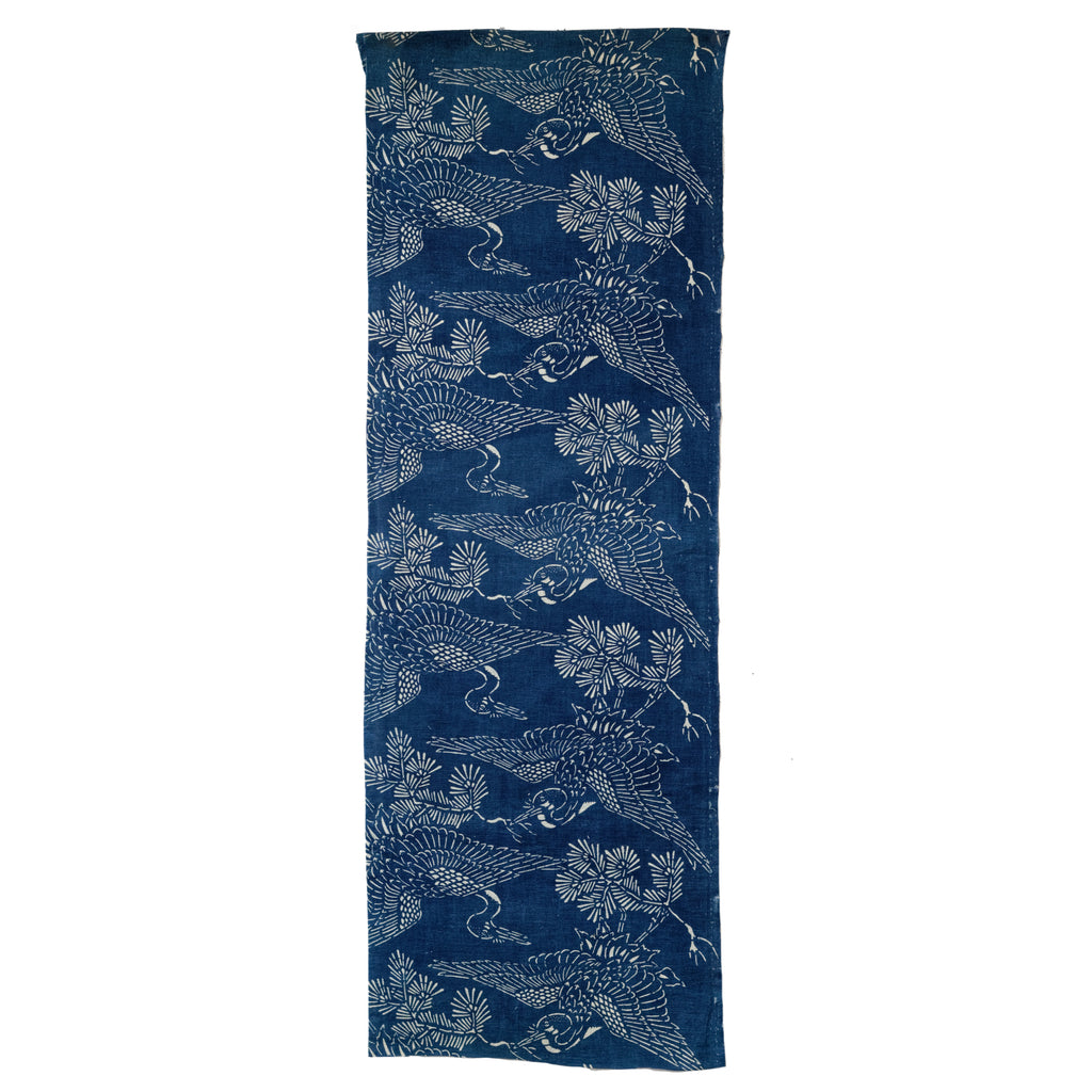 Katazome Panel - Indigo Cotton with Repeating Cranes