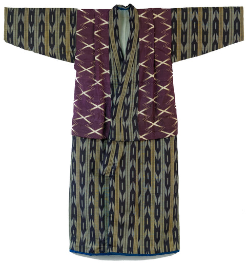 Edo Era Silk Kasuri Kimono for a Merchant's Child