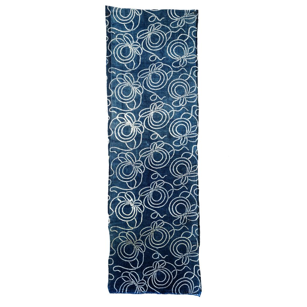 Katazome Indigo Panel - Swirling Ropes