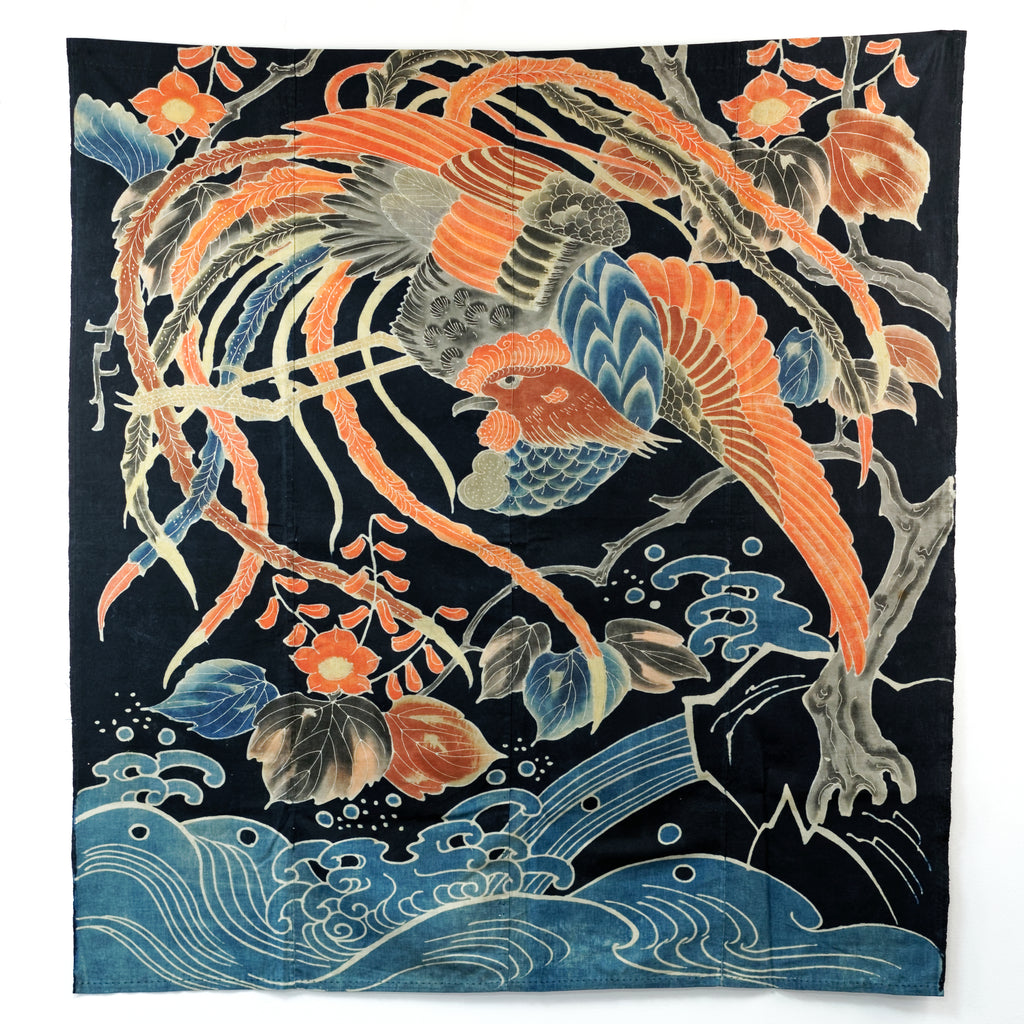 Tsutsugaki Futon Cover - Polychrome Phoenix and Waves