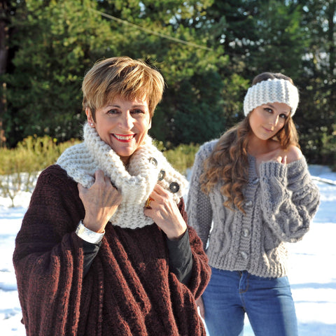Photo of Super Chunky Cowl Kit by The Knitter's Yarn. Rowan's Caliban poncho in Brushed Fleece. Alice wearing Kim Hargreaves 'Emma' in Rowan's Big Wool