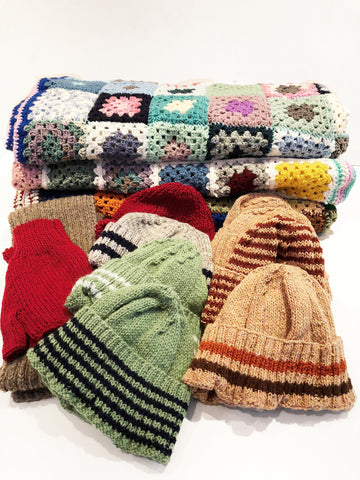 Hats and Scarves knitted by The Knitter's Yarn charity knitting group