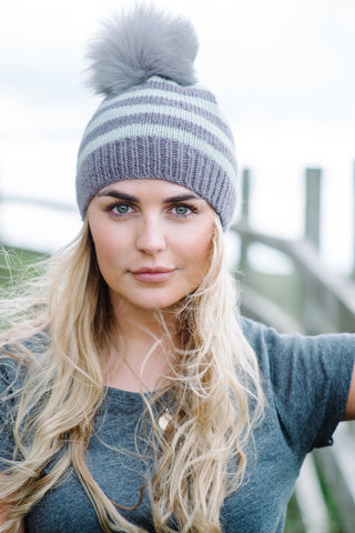 The Knitter's Yarn striped beanie knitted in Mrs Moon Plump DK