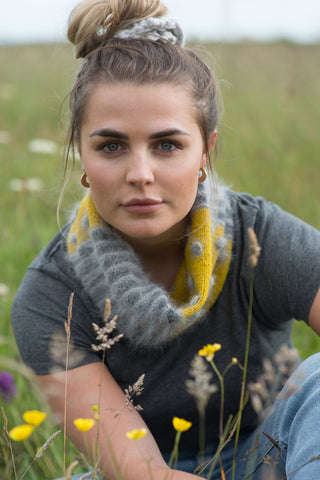 Stripe and Cable Cowl kit available from The Knitter's Yarn