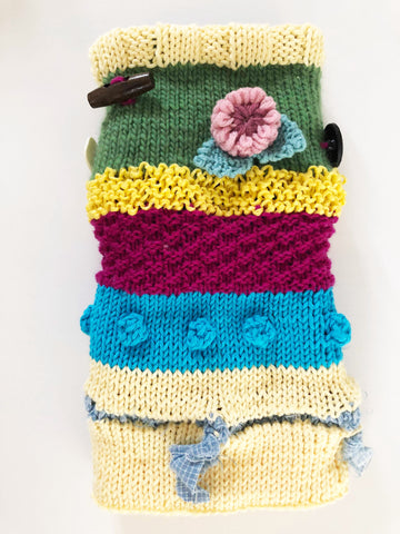 Twiddle muff for dementia patients knitted by The Knitter's Yarn