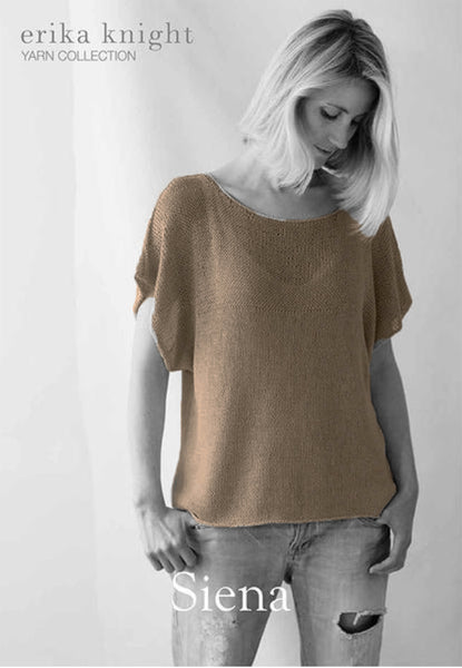Siena is a simple short-sleeved top designed by Erika Knight in her Studio Linen. Available as a kit from The Knitter's Yarn.