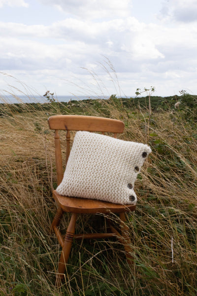 Shearwater Garter Stitch Cushion with Button detail