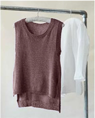 Ravello is a sleeveless tunic designed by Erika Knight in her Studio Linen. Available in a kit from The Knitter's Yarn.