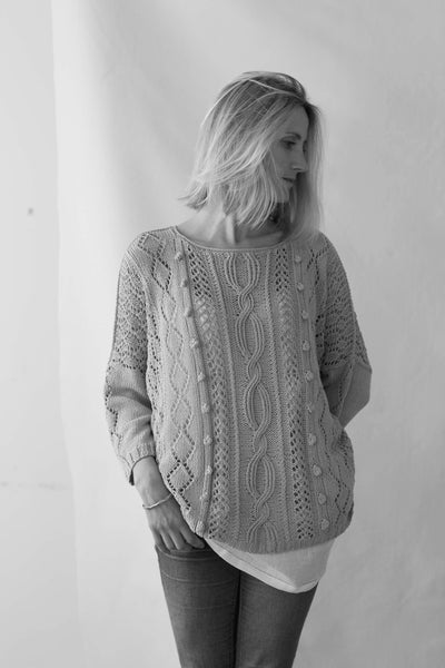 Erika Knight's Amalfi is an oversize sweater knitted in her Studio Linen available from The Knitter's Yarn.