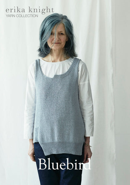 Erika Knight's Bluebird pattern is a contemporary sleeveless top knitted in her Studio Linen and available from The Knitter's Yarn.