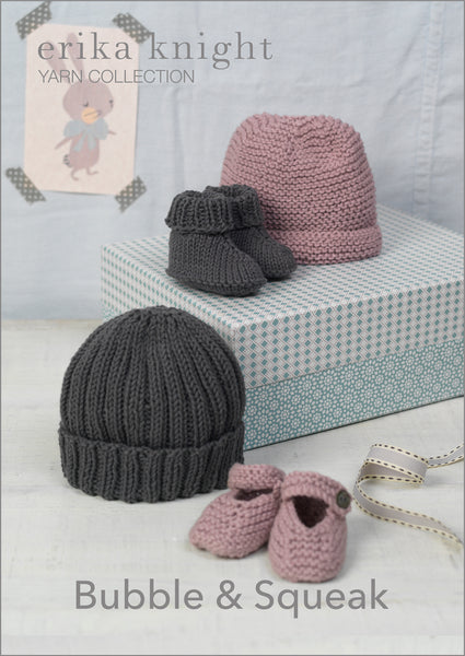 Erika Knight's Bubble and Squeak patterns are simple baby knits offering 2 baby hats and booties. Knitted in Erika Knight's eco friendly cotton both the pattern and yarn are available from The Knitter's Yarn.