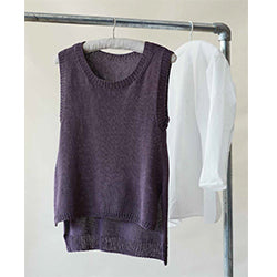 Simple knitting project showing a vest designed by Erika Knight in her Studio Linen yarn.