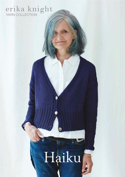 Erika Knight 'Haiku' Cardigan knitted in Studio Linen PDF Pattern - The Knitter's Yarn