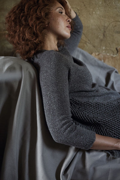Beautiful knitted sweater design from 'Knitting outside the Box' stocked by The Knitter's Yarn