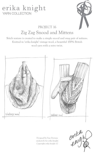 Knitting pattern by Erika Knight for a cowl and mittens in Vintage wool.