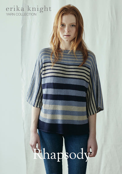 A striped loose sweater in random stripes. Designed by Erika Knight to be knitted in her Studio Linen yarn.