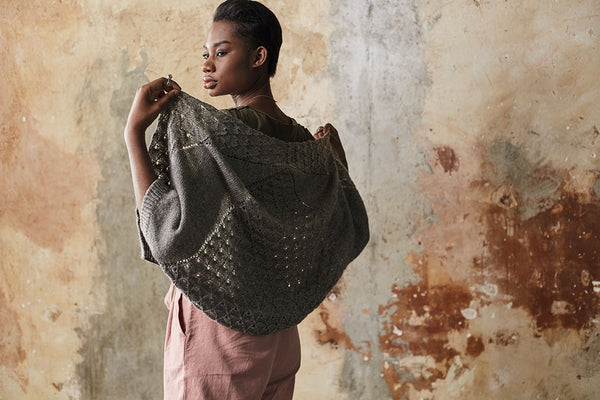 Stunning knitted garment from 'Knitting outside the Box' stocked by The Knitter's Yarn