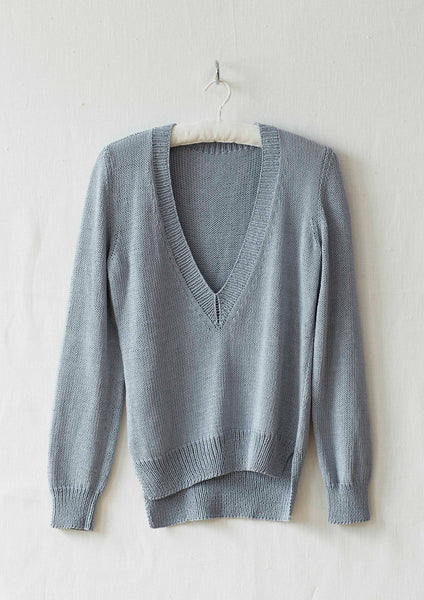 Porcelain is a v neck sweater designed by Erika Knight in her Studio Linen and available in a kit from The Knitter's Yarn.