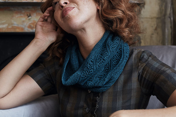 Beautiful cowl from 'Knitting outside the Box' stocked by The Knitter's Yarn