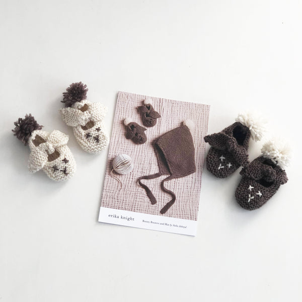 Bunny Bootees and Hat by Stella Ackroyd for Erika Knight's British Blue Wool