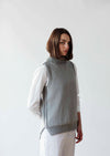 Easy knitting project, Smith is a high necked sleeveless sweater designed by Erika Knight and knitted in her gossypium cotton.