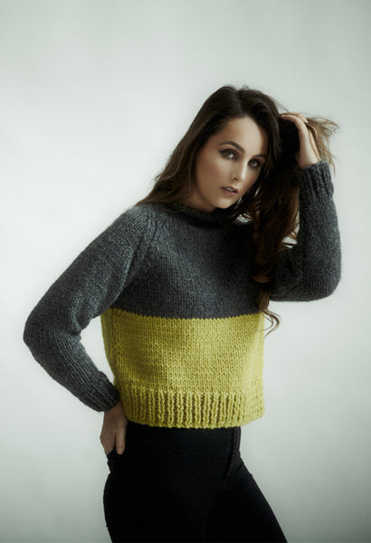 Cropped sweater knitting kit using Erika Knight's Maxi Wool. Available from The Knitter's Yarn.