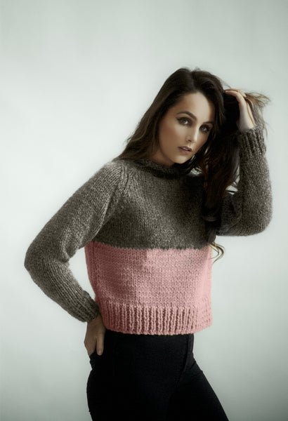 Cropped jumper knitting kit using Erika Knight's Maxi Wool. Available from The Knitter's Yarn.