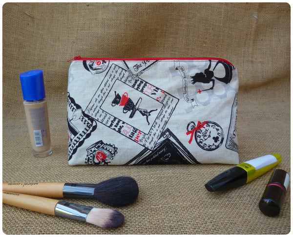 Alice In Wonderland Make Up Bag (choice of fabrics available)