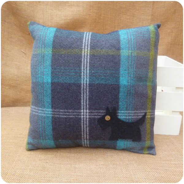 Blue Tartan Scottie Dog Cushion, Front View