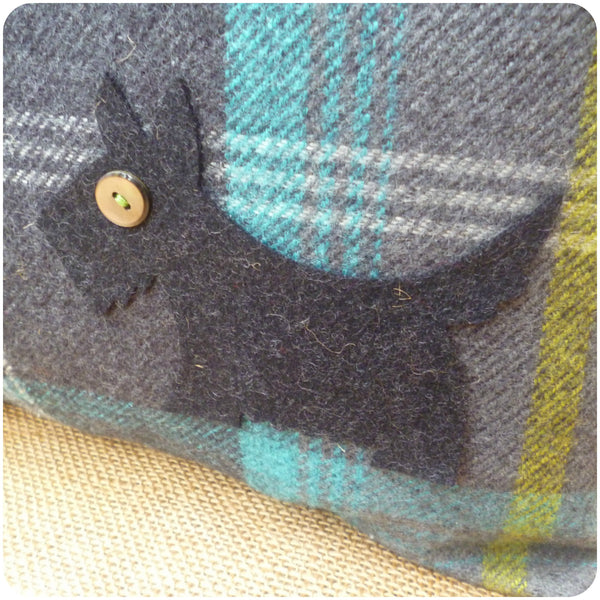 Blue Tartan Scottie Dog Cushion, Applique Dog Close Up