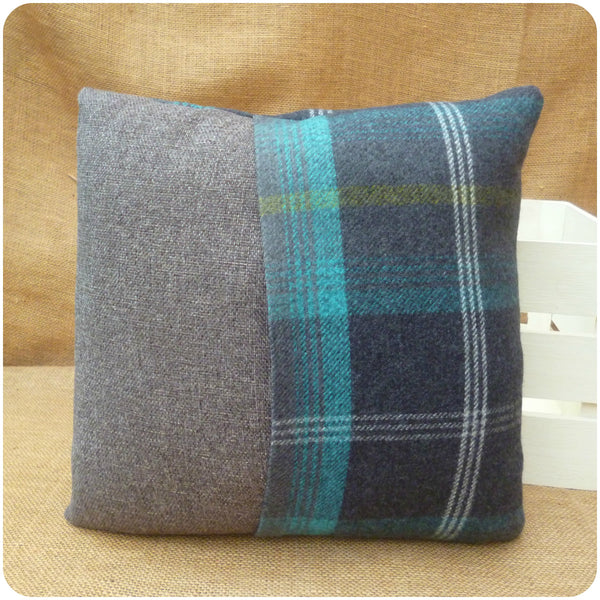 Blue Tartan Scottie Dog Cushion, Back View