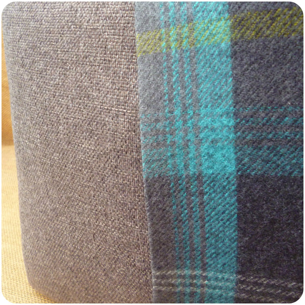 Blue Tartan Scottie Dog Cushion, Back View Close Up