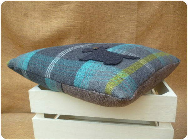 Blue Tartan Scottie Dog Cushion, Side View from Corner