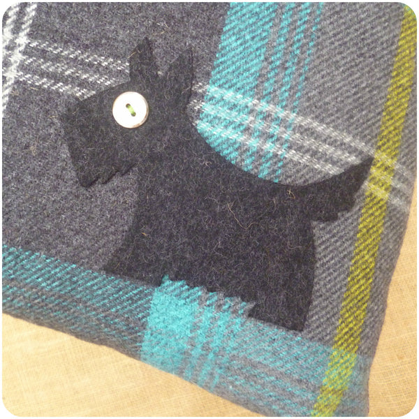 Blue Tartan Scottie Dog Cushion, Dog Close Up