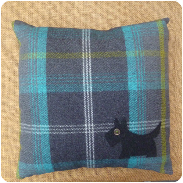Blue Tartan Scottie Dog Cushion, Full Top View