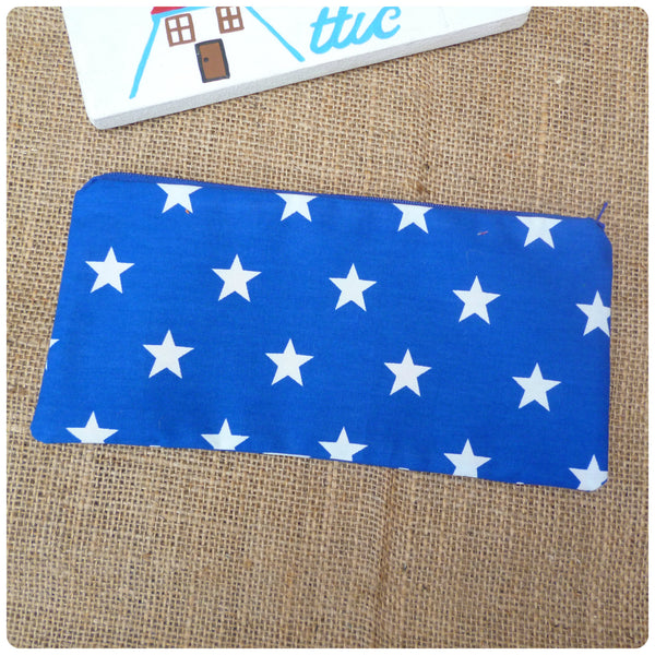 Blue White Stars Pencil Case (Can be Personalised)