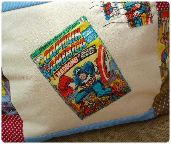 Captain America Comic Book Cushion (Can be personalised)