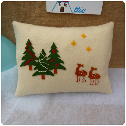 Wooly Christmas Tree and Deer Cushion
