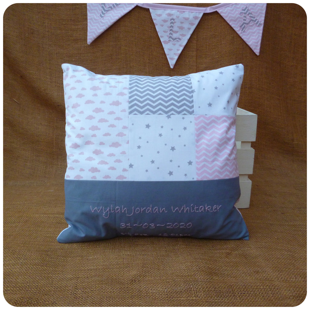 Clouds and Chevrons Baby Name Cushion (Choice of Colours Available)
